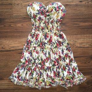 Floral Strapless Dress/ Beach Coverup
